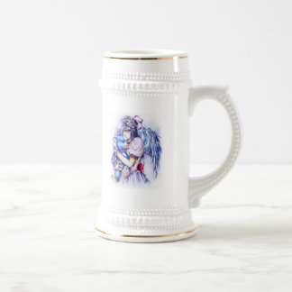 Anime Gothic Pink Angel Girl With Teddy Coffee Mugs
