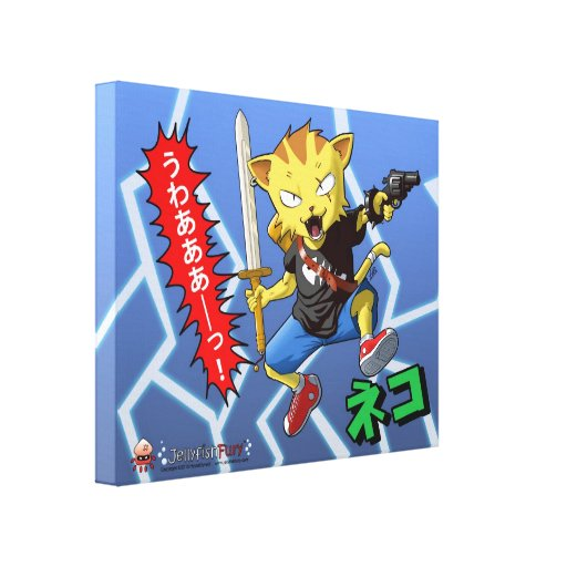 Anime Jumping Cat with Gun and Sword and Lightning Gallery Wrap Canvas