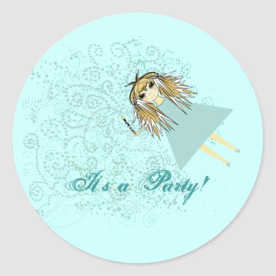 Anime Magical Days Birthday Party Classic Round Sticker