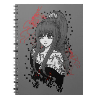 Anime/Manga Girl with Asian dragee ONS Spiral Notebook