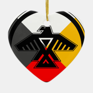 Anishinaabe Thunderbird in the Four Directions Ceramic Heart Decoration
