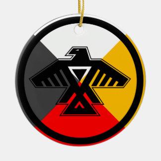 Anishinaabe Thunderbird in the Four Directions Round Ceramic Decoration