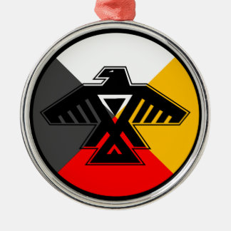 Anishinaabe Thunderbird in the Four Directions Silver-Colored Round Decoration