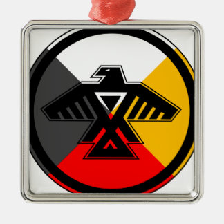 Anishinaabe Thunderbird in the Four Directions Silver-Colored Square Decoration