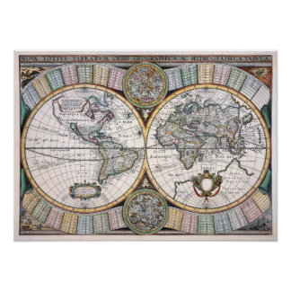 Anitique Replica Map of the World Poster