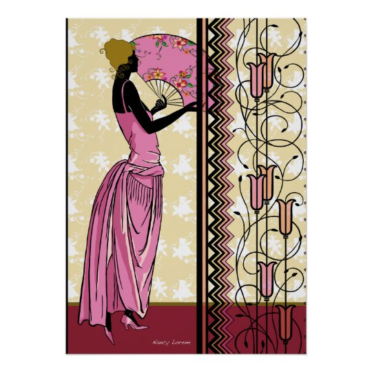 ANJANETTE: Art Deco Fashion in Pink and Yellow