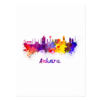 Ankara skyline in watercolor postales