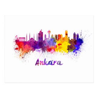 Ankara skyline in watercolor postcard