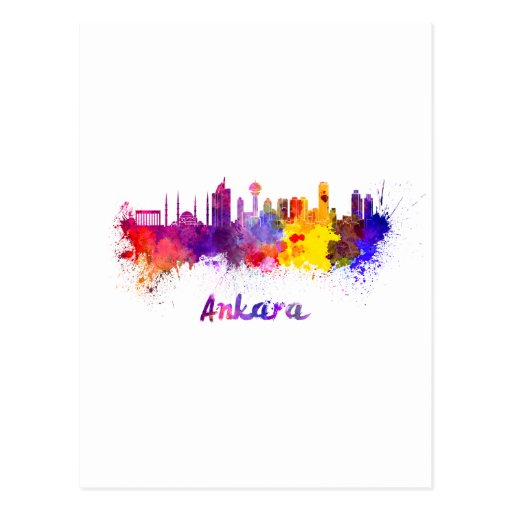 Ankara skyline in watercolor post cards