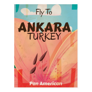 Ankara Turkey Vintage Travel Poster Postcard