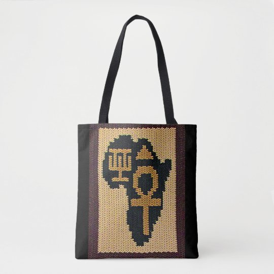 Ankh African Adinkra and Egyptian Symbols Crochet Tote