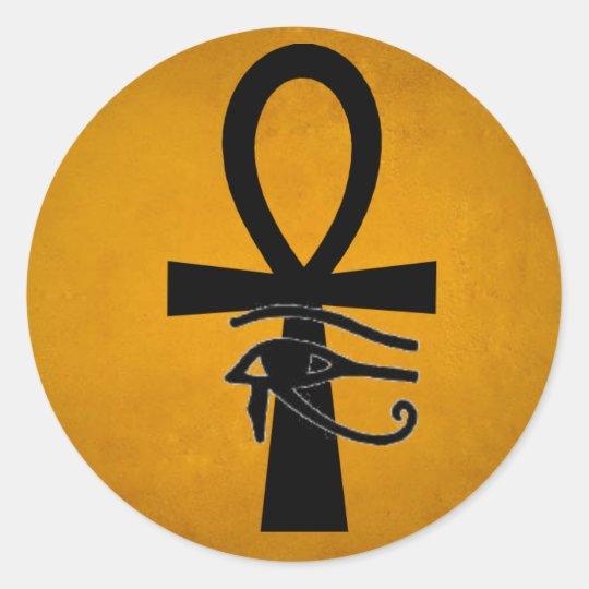 Ankh with Horus Eye Classic Round Sticker