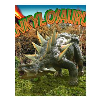 Ankylosaurus Dinosaur Park Vegetation and  Volcano 21.5 Cm X 28 Cm Flyer