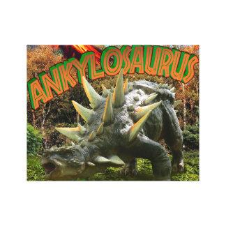 Ankylosaurus Dinosaur Park Vegetation and  Volcano Gallery Wrapped Canvas