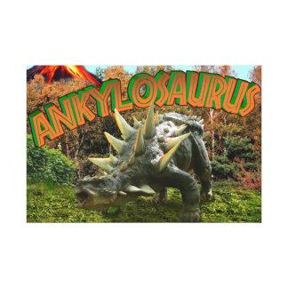 Ankylosaurus Dinosaur Park Vegetation and  Volcano Canvas Print