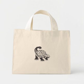 Ankylosaurus Dinosaur Prehistoric Black and White Mini Tote Bag
