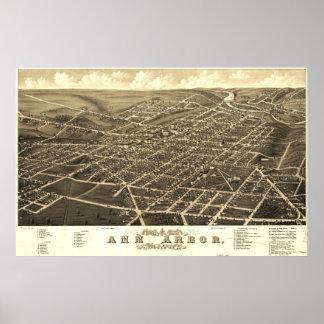 Ann Arbor Birdseye Map Poster