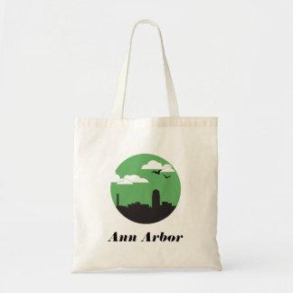 Ann Arbor city skyline tote | green Budget Tote Bag