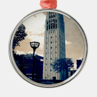 Ann Arbor Clock Tower Silver-Colored Round Decoration