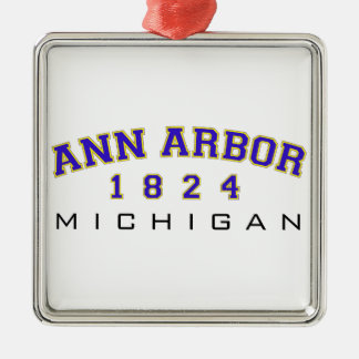 Ann Arbor, MI - 1824 Silver-Colored Square Decoration