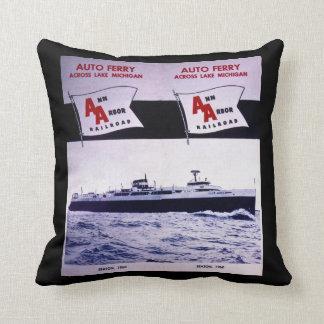 Ann Arbor Railroad Auto Ferry Lake Michigan Throw Pillow