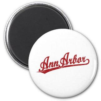 Ann Arbor script logo in red Fridge Magnet