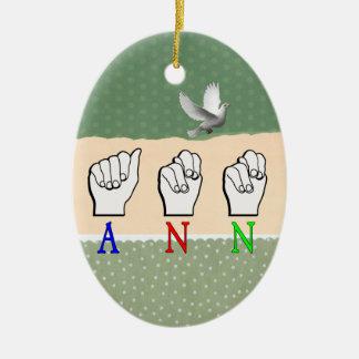ANN  FINGERSPELLED ASL SIGN NAME FEMALE CHRISTMAS TREE ORNAMENTS