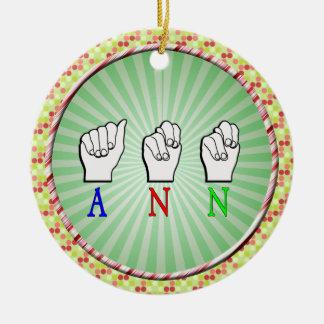 ANN  FINGERSPELLED ASL SIGN NAME FEMALE ROUND CERAMIC DECORATION