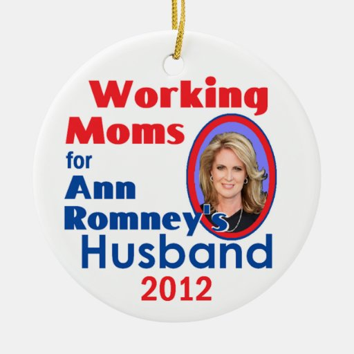 ANN ROMNEY Double-Sided CERAMIC ROUND CHRISTMAS ORNAMENT