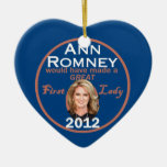 Ann Romney First Lady Double-Sided Heart Ceramic Christmas Ornament