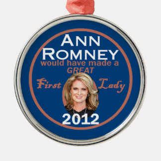 Ann Romney First Lady Silver-Colored Round Decoration