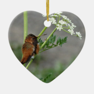 """Ann""""s Lace and bird Ceramic Heart Decoration"""
