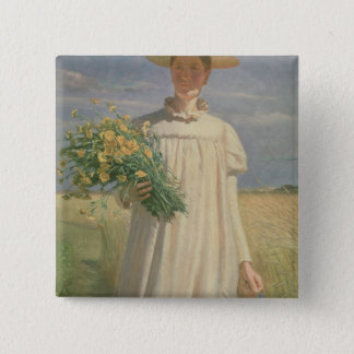 Anna Ancher returning from Flower Picking, 1902 15 Cm Square Badge