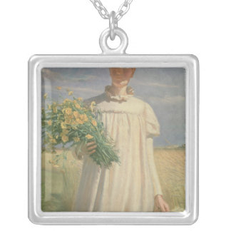 Anna Ancher returning from Flower Picking, 1902 Silver Plated Necklace