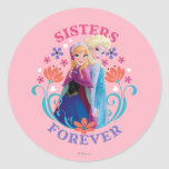 Anna and Elsa Sisters Forever Round Sticker