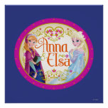 Anna and Elsa with Floral Frame Poster