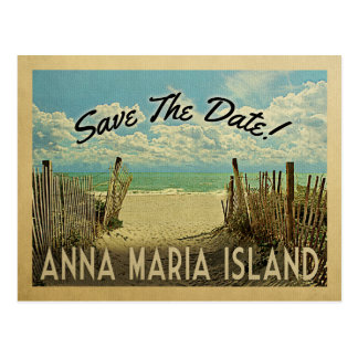 Anna Maria Island Save The Date Vintage Beach Postcard