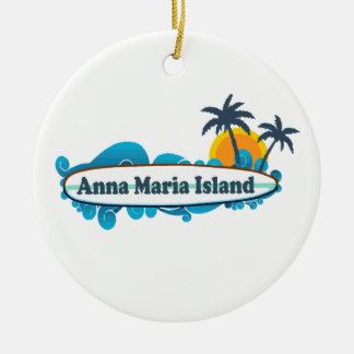 Anna Maria Island - Surf Design. Christmas Ornament