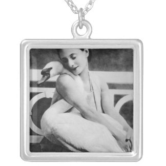 Anna Pavlova with her pet swan Jack, c.1905 Silver Plated Necklace