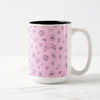 Anna Personalized Name pink watercolor pattern Two-Tone Coffee Mug