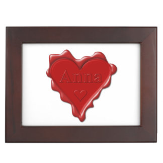 Anna. Red heart wax seal with name Anna Keepsake Boxes