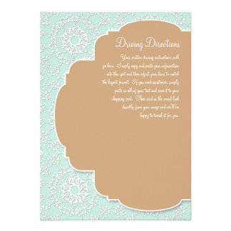 AnnaLiese Damask - Aqua n Latte Driving Directions Personalized Invites