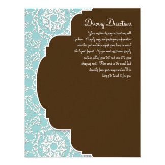 AnnaLiese Damask - Blue Driving Directions Personalized Invitation
