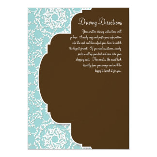 "AnnaLiese Damask - Blue Driving Directions 5"" X 7"" Invitation Card"