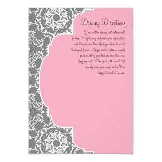 AnnaLiese Damask - Pink n Grey Driving Directions 5x7 Paper Invitation Card