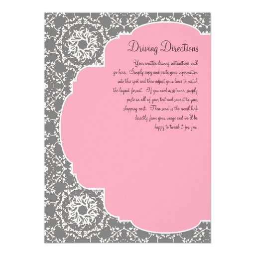 AnnaLiese Damask - Pink n Grey Driving Directions Personalized Invite
