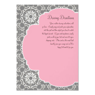 AnnaLiese Damask - Pink n Grey Driving Directions 4.5x6.25 Paper Invitation Card