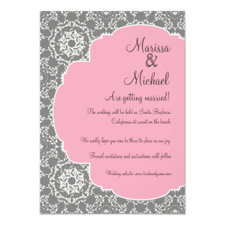 AnnaLiese Damask - Pink n Grey Save the Dates 13 Cm X 18 Cm Invitation Card