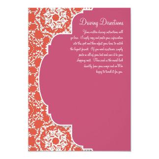 "AnnaLiese Damask - Tangerine n Watermelon Invite 5"" X 7"" Invitation Card"