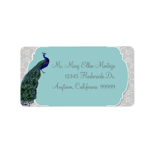 AnnaLiese Peacock Damask - Blue Matching  Labels
